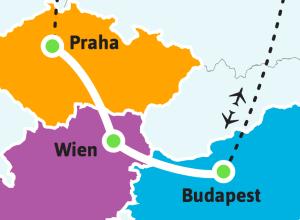 Praha-Wien-Budapest-kartta-kiertomatkat-001