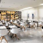 Hotellin aamiaisravintola ja sen moderni ilme