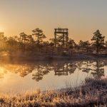 Auringonlasku Kemerin kansallispuistossa Latviassa