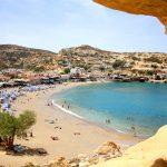 Näkymä rantakalliolta Matala beachille