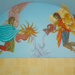 kylpyhuoneen seinämaalaus