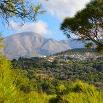 Näkymä metsästä kohti kylää ja vuoria.