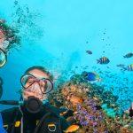 Mies ja nainen sukellusvarusteissa veden alla ottaa selfien, ympärillä kaloja ja koralleja.