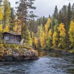 Hirsinen mökki virtaavan joen törmällä ruska-aikana.