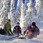 Iloinen perhe paistamassa makkaraa lumisessa metsässä