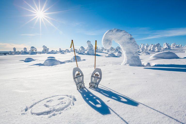 Lumikengät pystyssä hangessa kevätauringon paistaessa