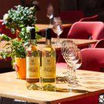 Viinipullot ja lasit pödällä