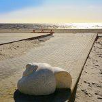 Simpukanmallinen koristekivi hiekkarannan kävelykivetyksellä.