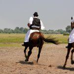 Kolme unkarilaista kansallispukuista miestä ratsailla.