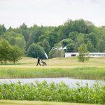 Mies vetää golfkärryjä viheriöllä