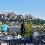 Kattoterassin näköala Akropolikselle, Arion Hotel, Ateena, Kreikka