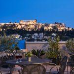 Kattoterassi illalla, Arion Hotel, Ateena, Kreikka